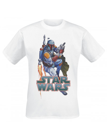 Star Wars Boba Fett Pose T-shirt blanc