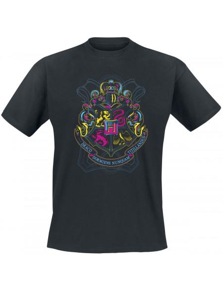 Harry Potter Armories De Poudlard (Fluorescent) T-shirt noir