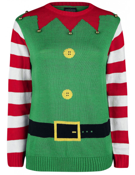 Pull Moche De Noël Elfe De Noël Pull tricoté vert