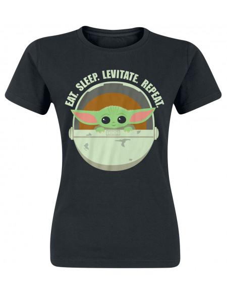 Star Wars The Mandalorian - Eat, Sleep, Levitate T-shirt Femme noir