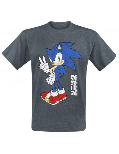 Sonic The Hedgehog Victoire T-shirt gris sombre chiné