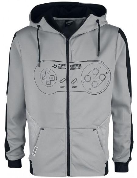 Nintendo SNES - Super Nintendo Entertainment System - Manettes Sweat Zippé à Capuche noir/blanc