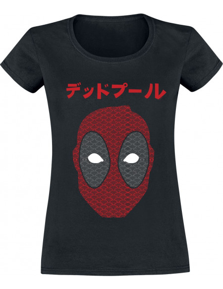 Deadpool Japanese Seigaiha Head T-shirt Femme noir