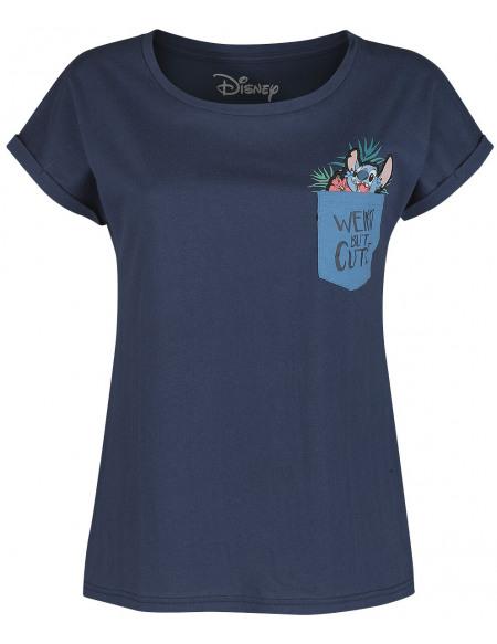Lilo & Stitch Weird But Cute T-shirt Femme bleu foncé