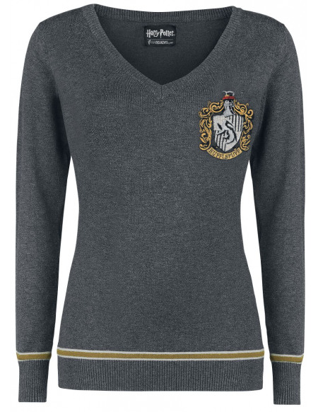Harry Potter Poufsouffle Pull Femme gris/jaune