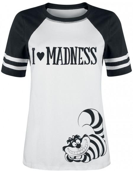 Alice Au Pays Des Merveilles I Love Madness T-shirt Femme noir/blanc