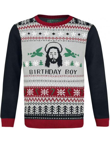 Pull Moche De Noël Birthday Boy Pull tricoté multicolore