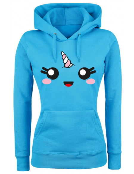 Unicorn Unicorn Face Sweat à Capuche Femme bleu