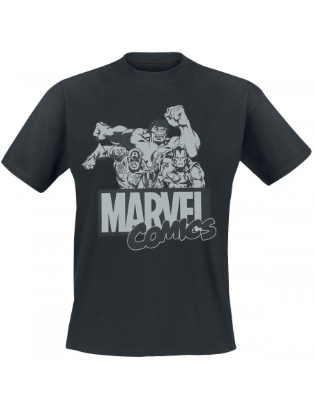 Marvel Comic Gruppenbild T-shirt noir