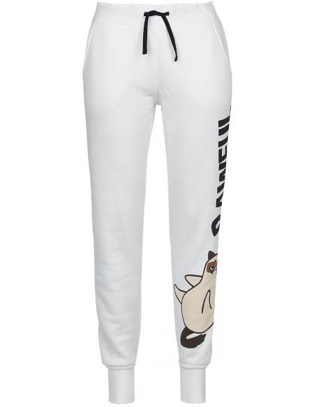 Grumpy Cat Pawful Pantalon de Survêtement Femme blanc