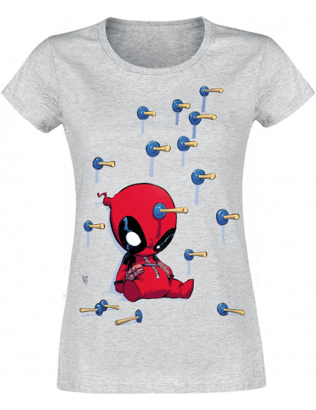 Deadpool Cartoon Knockout T-shirt Femme gris chiné