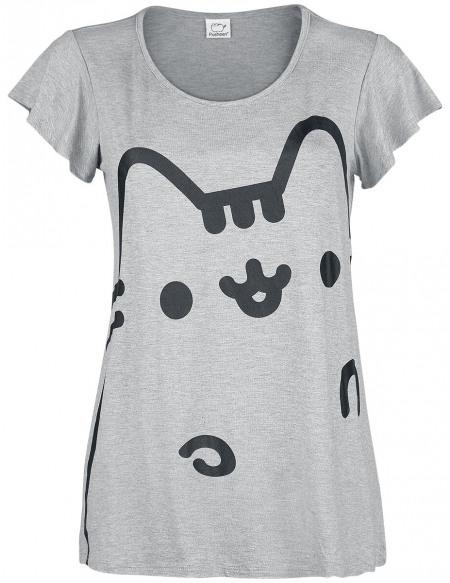 Pusheen Hello T-shirt Femme gris chiné