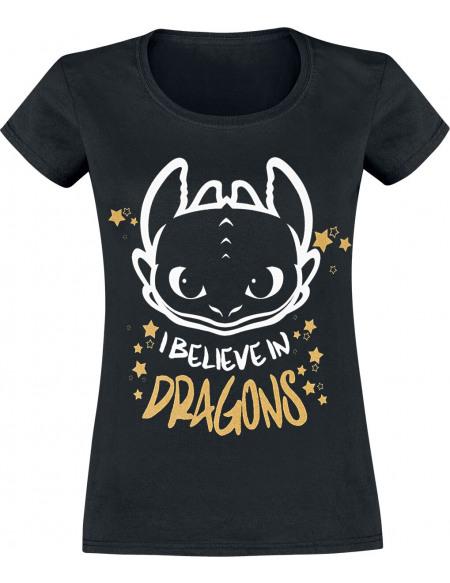 Dragons Krokmou - I Believe In Dragons T-shirt Femme noir