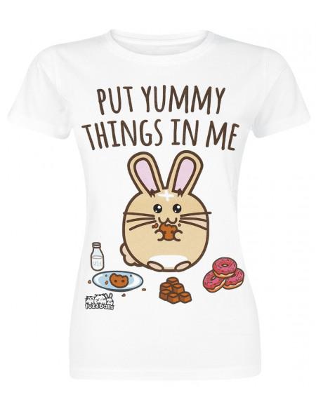 Fuzzballs Put Yummie Things In Me! T-shirt Femme blanc
