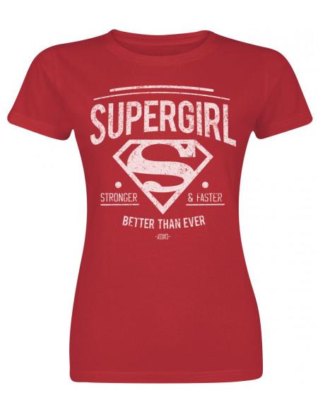 Supergirl Stronger & Faster T-shirt Femme rouge