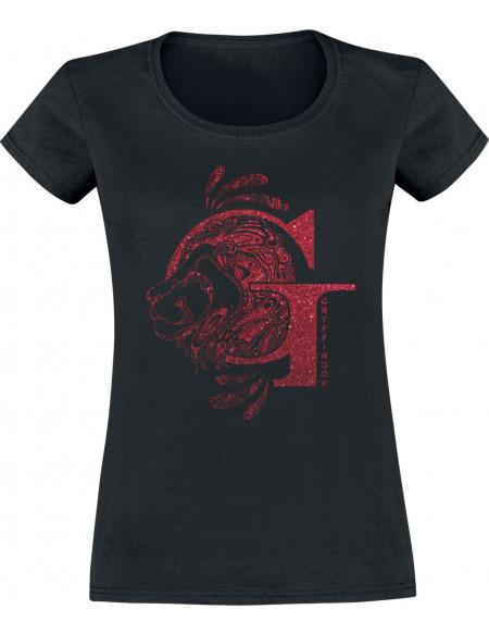Harry Potter Griffondor - Paillettes T-shirt Femme noir