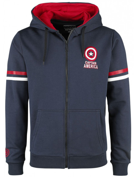 Avengers Captain America - Brooklyn Soldier Sweat Zippé à Capuche bleu