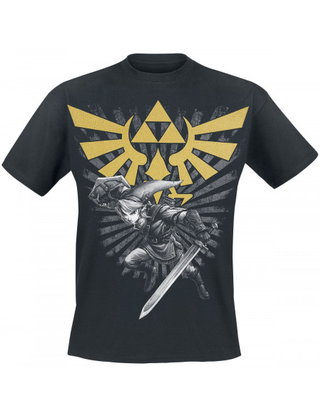 The Legend Of Zelda Blason Ailé - Triforce - Link T-shirt noir