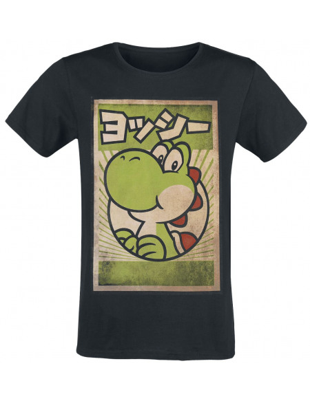 Super Mario Yoshi - Poster T-shirt noir