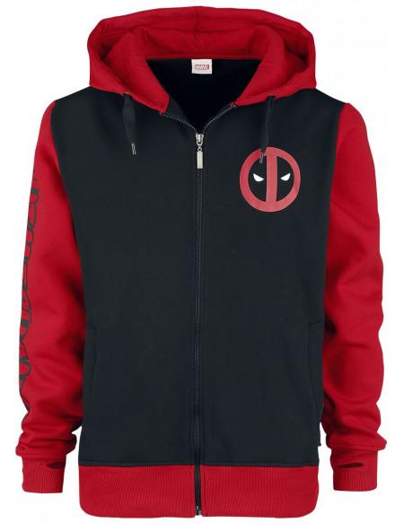 Deadpool Sweat Zippé à Capuche noir/rouge