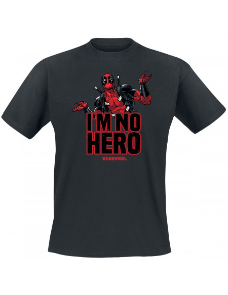 Deadpool I´m No Hero T-shirt noir
