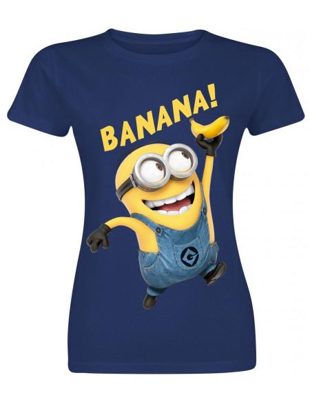 Les Minions Banana T-shirt Femme marine