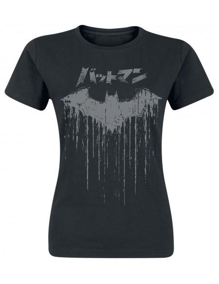 Batman Distressed Japanese Logo T-shirt Femme noir