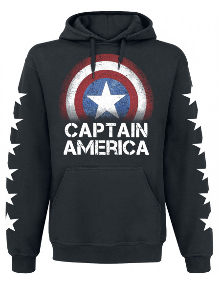 Captain America Stars Sweat à capuche noir