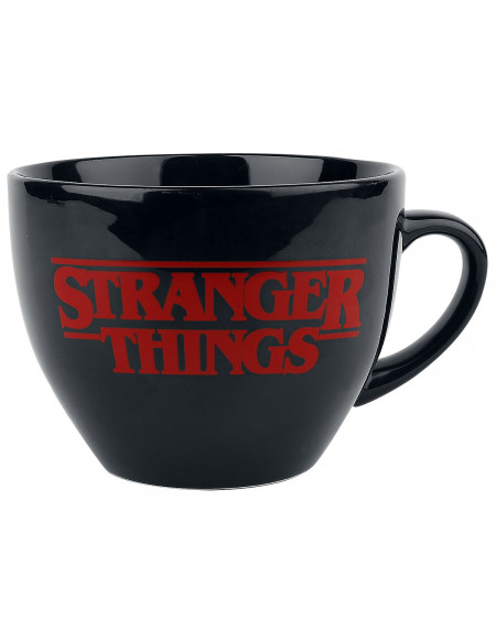 Stranger Things The World Is Turning Upside Down - Cappuccino Tasse mit Schablone Mug noir