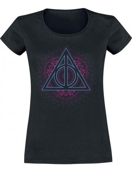 Harry Potter Reliques De La Mort Néon T-shirt Femme noir