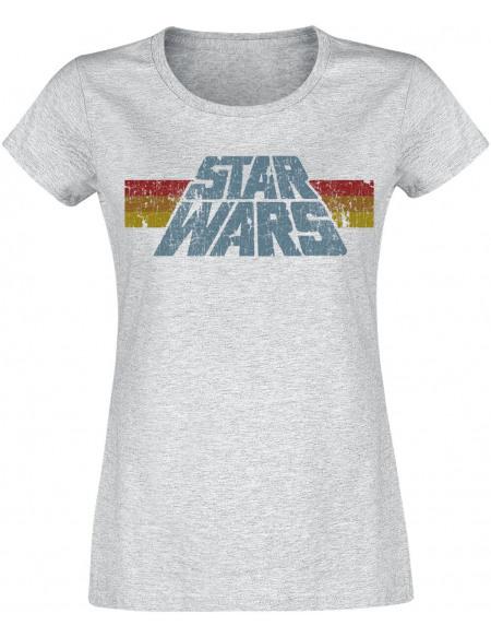 Star Wars Vintage 77 T-shirt Femme gris chiné