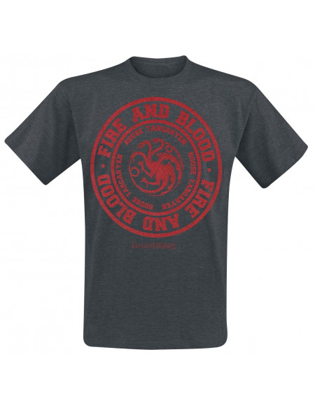 Game Of Thrones Maison Targaryen - Fire And Blood T-shirt gris sombre chiné