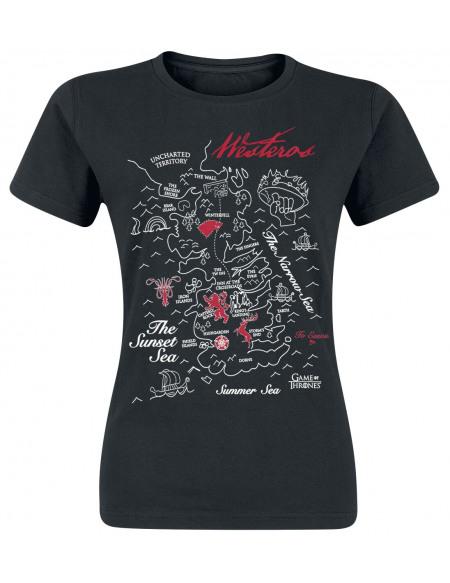 Game Of Thrones Carte De Westeros T-shirt Femme noir