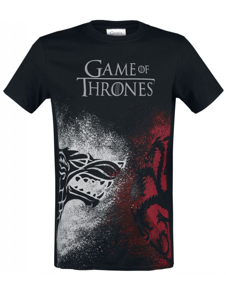 Game Of Thrones Emblèmes Stark et Targaryen - Face à face T-shirt noir