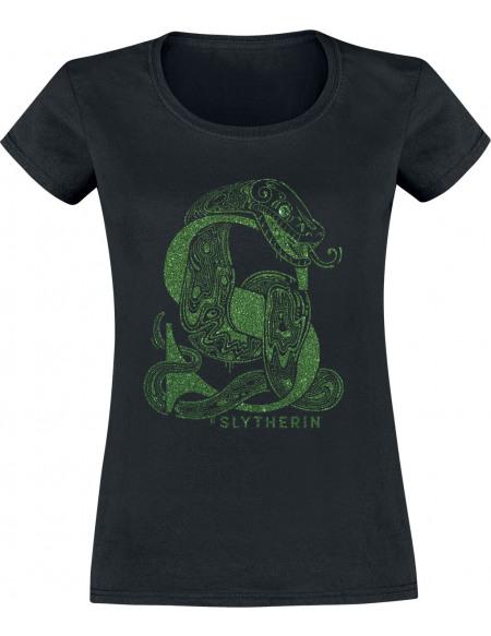 Harry Potter Serpentard - Paillettes T-shirt Femme noir