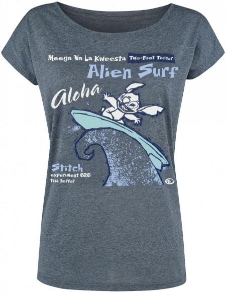 Lilo & Stitch Alien Surf T-shirt Femme bleu chiné
