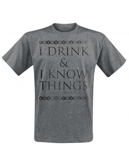 Game Of Thrones Tyrion Lannister - I Drink And I Know Things T-shirt gris chiné