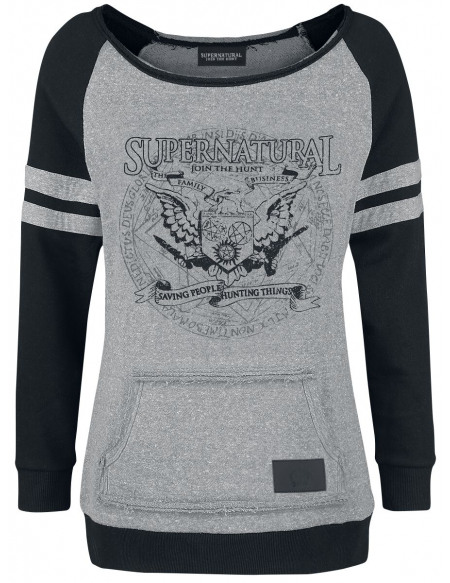 Supernatural Saving People Hunting Things Sweat-shirt Femme gris/noir