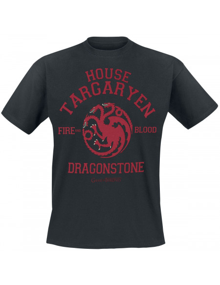 Game Of Thrones House Targaryen - Dragonstone - Fire And Blood T-shirt noir