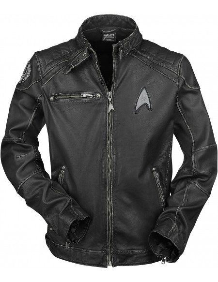 Star Trek Starship Blouson en Cuir noir