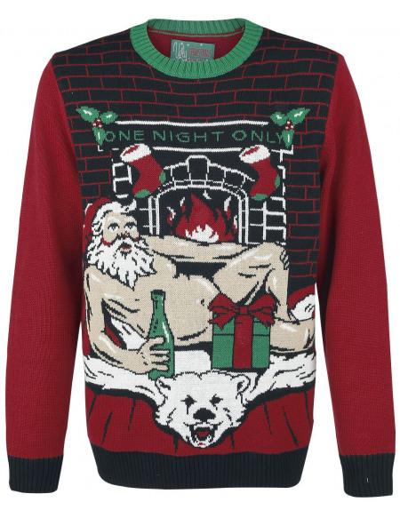 Pull Moche De Noël Sexy Santa Pull tricoté rouge