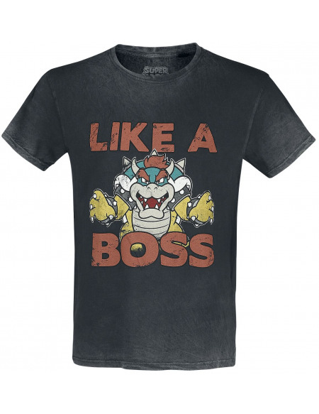 Super Mario Bowser - Like A Boss T-shirt gris