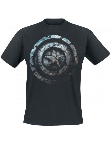 Captain America Bouclier De Pierre T-shirt noir