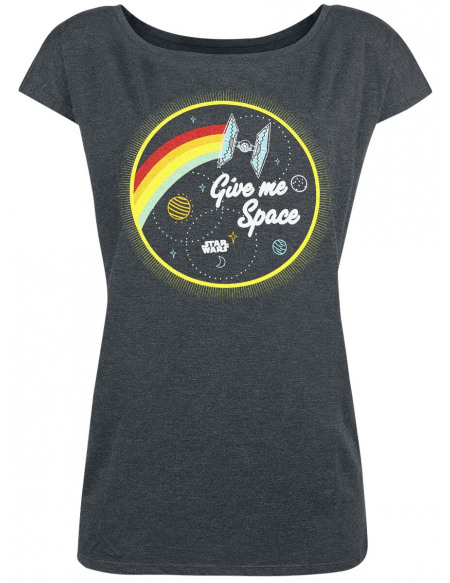 Star Wars Give Me Space T-shirt Femme gris sombre chiné