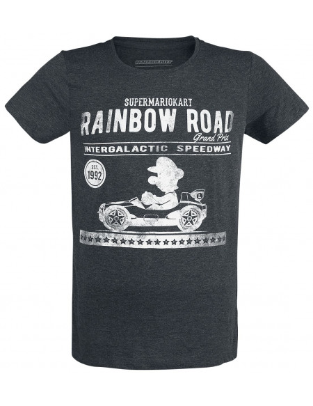 Super Mario Mario Kart - Luigi - Garage Vintage T-shirt gris sombre chiné