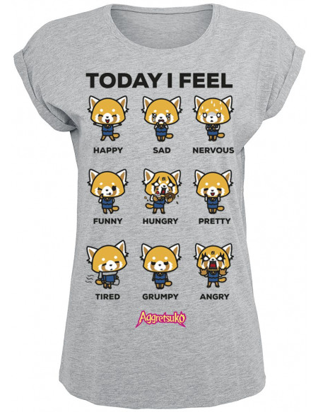 Aggretsuko Today I Feel T-shirt Femme gris chiné