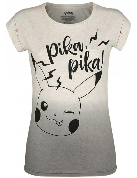 Pokémon Pikachu - Pika, Pika! T-shirt Femme blanc/gris