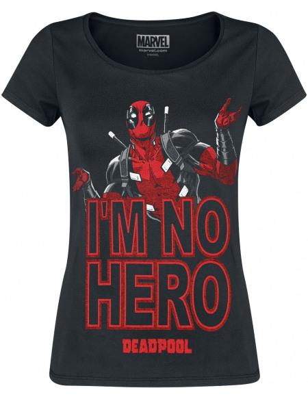 Deadpool I'm No Hero T-shirt Femme noir