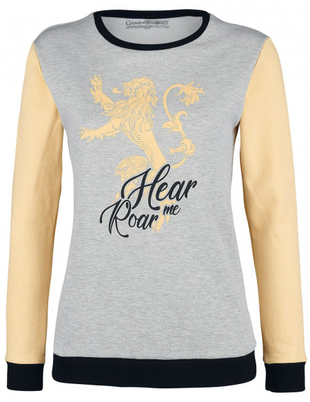 Game Of Thrones Maison Lannister - Hear Me Roar Sweat-shirt Femme effet moucheté gris/jaune