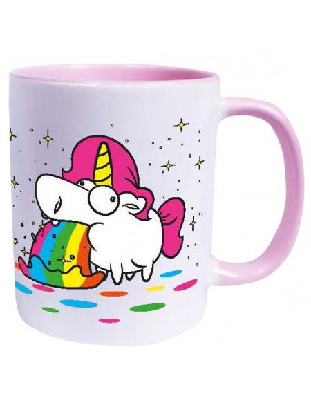 Unicorn Puking Unicorn - Rainbow Mug blanc/rose